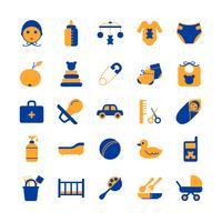 Conjunto de ícones de cuidados com o bebê