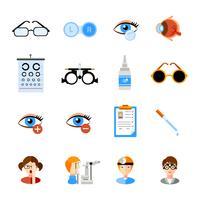 Conjunto de ícones de oftalmologia vetor