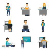 Conjunto de ícones plana de estudante vetor