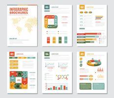 Conjunto de folhetos de infográfico vetor