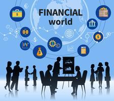 Bandeira de composição de conceito de mundo de negócios financeiros vetor