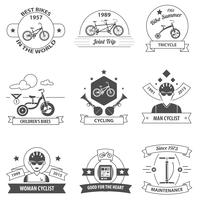 Conjunto de etiquetas de bicicleta vetor