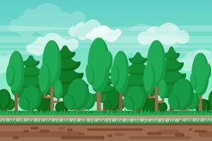 Fundo de floresta de paisagem de verão sem costura jogo vetor