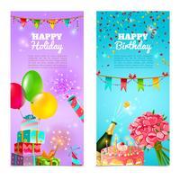 Conjunto de bandeiras de comemoração de feliz aniversário feriado