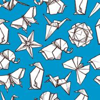 Padrão sem emenda de figuras de papel dobrado de origami vetor