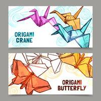Conjunto de bandeiras de borboletas e guindastes de origami vetor