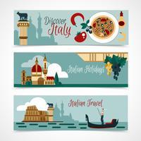 Conjunto de Banner turístico de Itália vetor