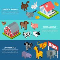 Banners de animais isométrica