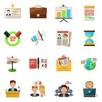 Reunião, ícones, apartamento vetor