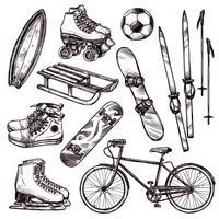 Conjunto de equipamentos de esporte vetor