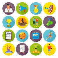 Treinando ícones do esporte plana vetor