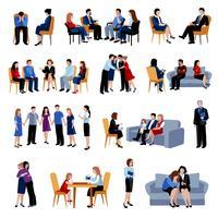 Famílias problemáticas aconselhamento conjunto de ícones planas vetor