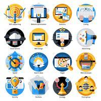Conjunto de ícones redondo de desenvolvimento de SEO