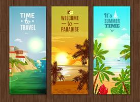 Conjunto de bandeiras de férias do mar agência de viagens