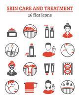 Conjunto de ícones de cosméticos de pele vetor