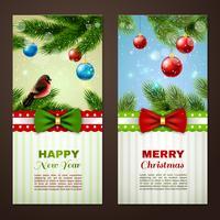 Cartões de Natal 2 conjunto de bandeiras vetor