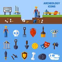 Conjunto de ícones de arqueologia vetor