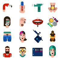 Body Art Tattoo Piercing Icons Set