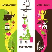 Conjunto de Banners de medicina alternativa vetor