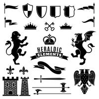 Conjunto heráldico preto branco de elementos vetor