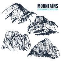Contornos de montanhas de mão desenhada