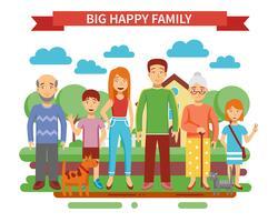 Grande, família, ilustração