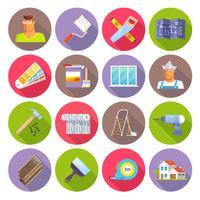 Conjunto de ícones plana de renovação vetor