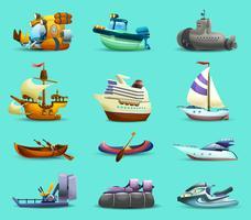 Conjunto de ícones de navios e barcos vetor