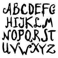 Mão desenhada alfabeto preto vetor
