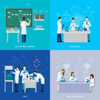 Conjunto plano de cientistas