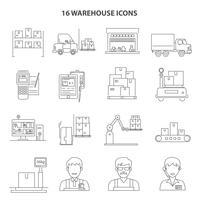 Contorno de ícones de armazém