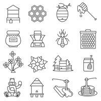 Conjunto de ícones de linha de mel