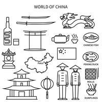 Conjunto de ícones do mundo da China linha vetor
