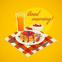 Conceito de Design de pequeno-almoço com bom dia desejando vetor