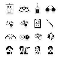 Conjunto de ícones de preto branco de oftalmologia vetor
