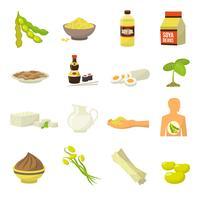 Ícones de comida de soja vetor