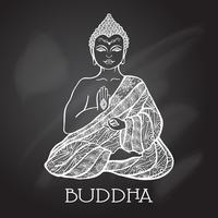 Ilustração de Buda de quadro de giz vetor