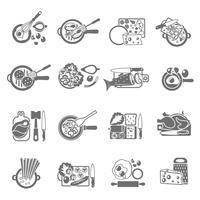 Conjunto de ícones pretos de cozinhar em casa vetor