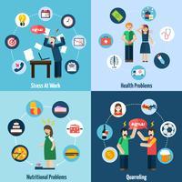 Stress depression 4 flat icons square