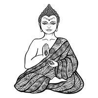 Esboço decorativo de Buda vetor