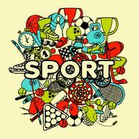 Colagem de Doodle de esporte vetor