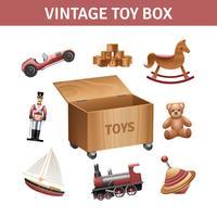 Conjunto de caixa de brinquedos vintage