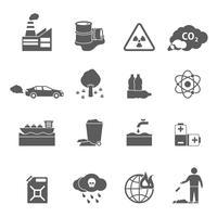Conjunto de ícones de problemas de ecologia