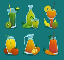 Conjunto de ícones de suco e frutas frescas vetor
