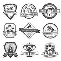 Conjunto de emblemas de desporto equestre