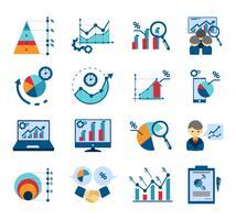 Coleção de ícones plana de análise de dados vetor