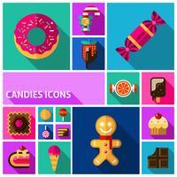 Conjunto de ícones de doces vetor