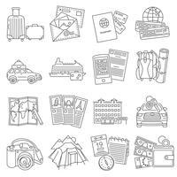 Linha de conjunto de ícones de viagens de férias