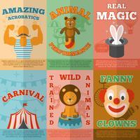 Cartaz de composição de ícones plana de circo