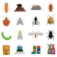 Conjunto de ícones de pragas vetor